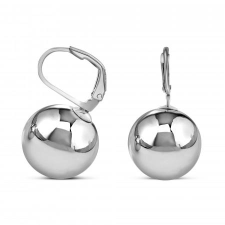 Boucles d'oreilles dormeuses sphères 14mm