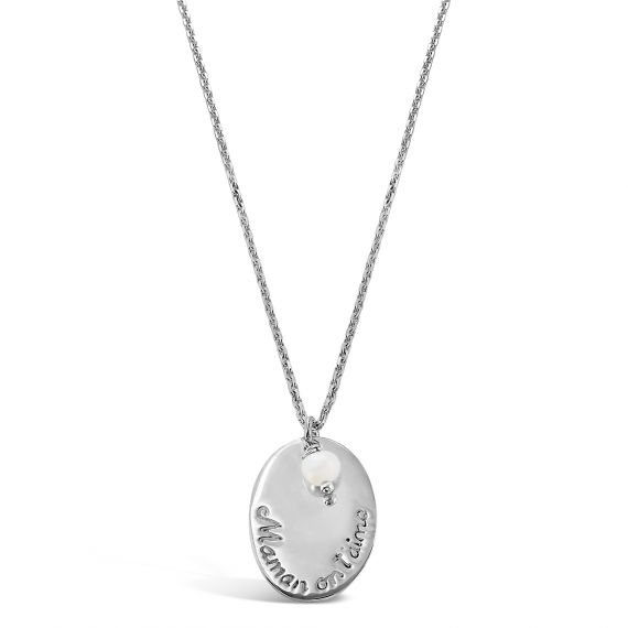 We love you Mom silver necklace