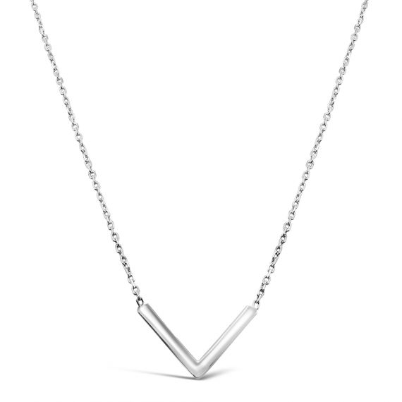 V-shaped silver necklace