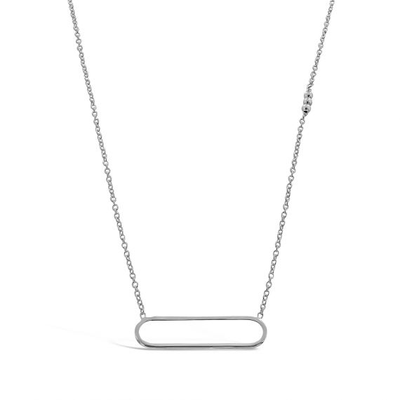 Sterling silver rectangle necklace