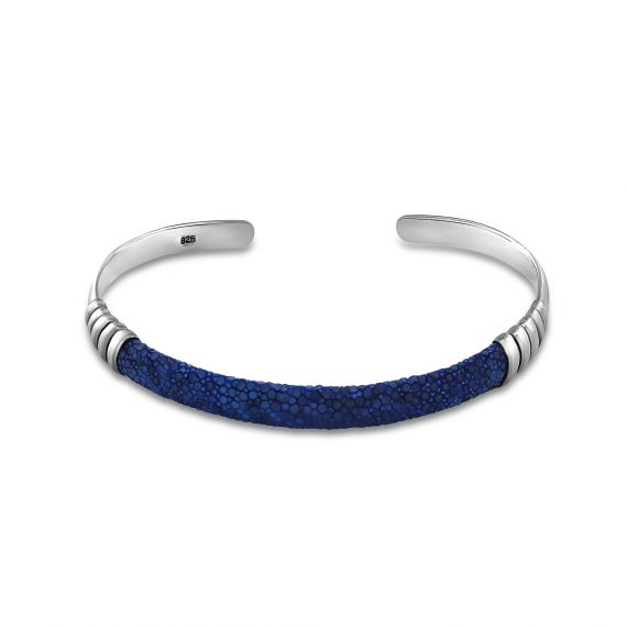 Silver blue shagreen bangle