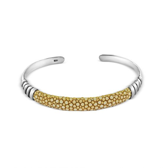 Silver biege shagreen bangle