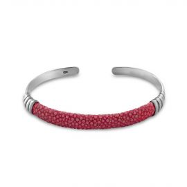Silver pink shagreen bangle