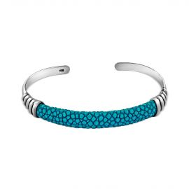 Silver turquoise shagreen bangle