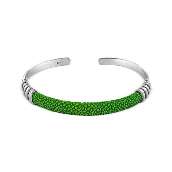 Silver green shagreen bangle