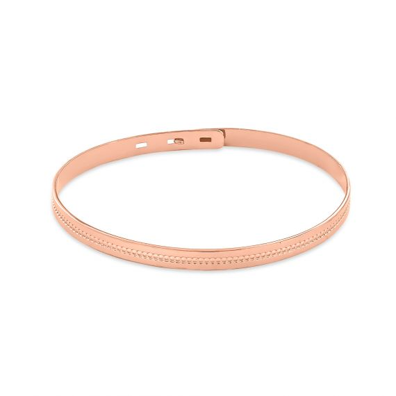 Pink gold plated beaded bangle
