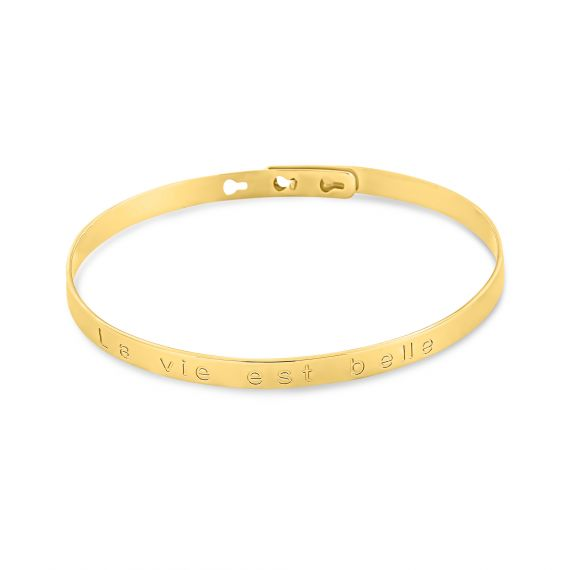 "Yellow gold plated ""La vie est belle"" bangle"