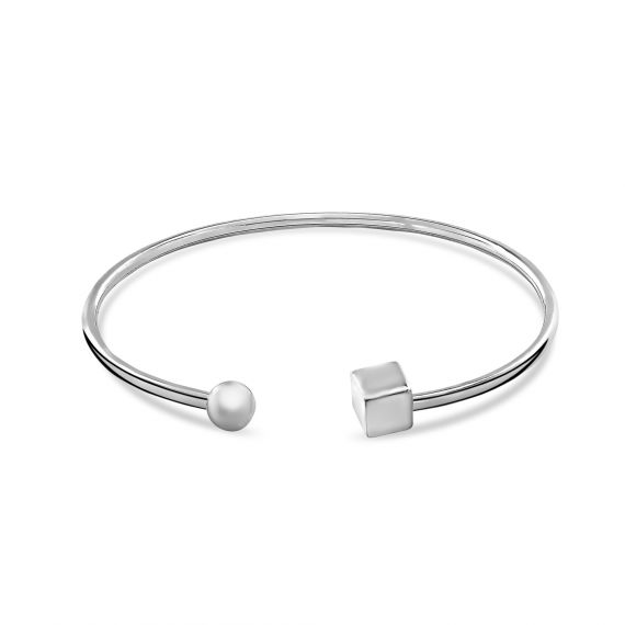 Sterling silver cube bead bangle
