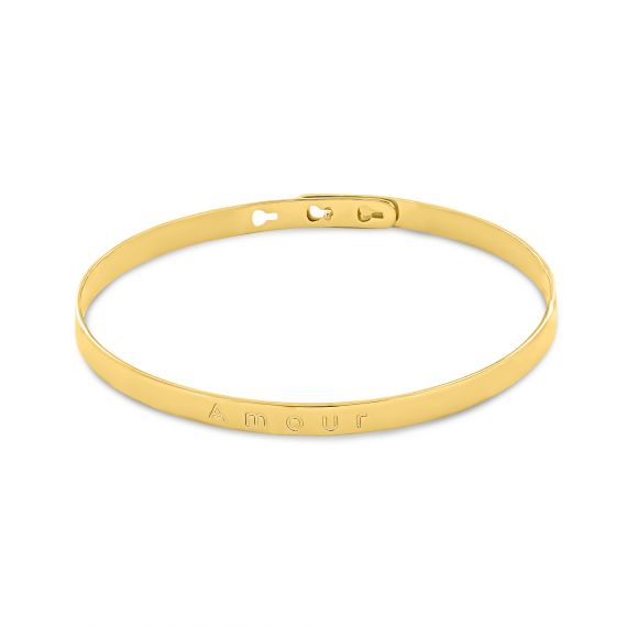 Yellow gold plated love bangle