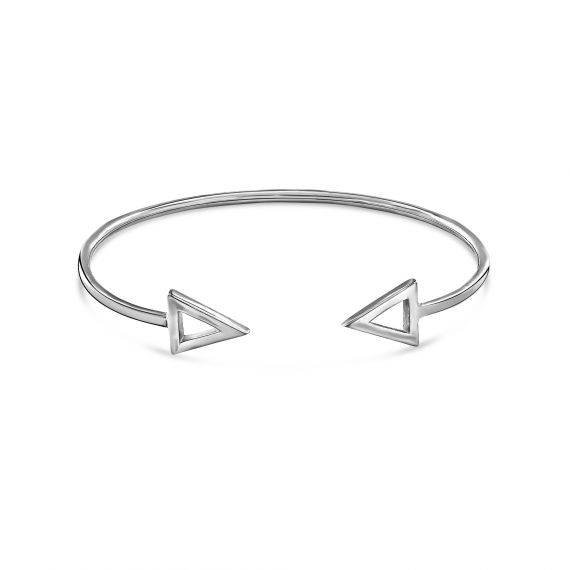 Sterling silver twin hollow triangle bangle