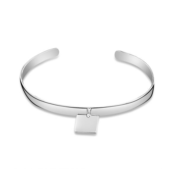 Sterling silver flat medal square bangle