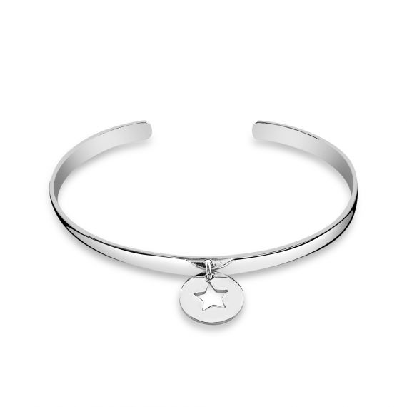 Sterling silver flat medal star bangle