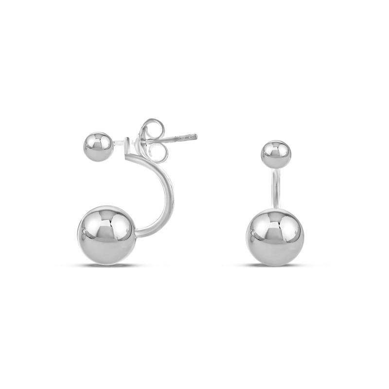 Boucle d'oreille duo perle d'argent