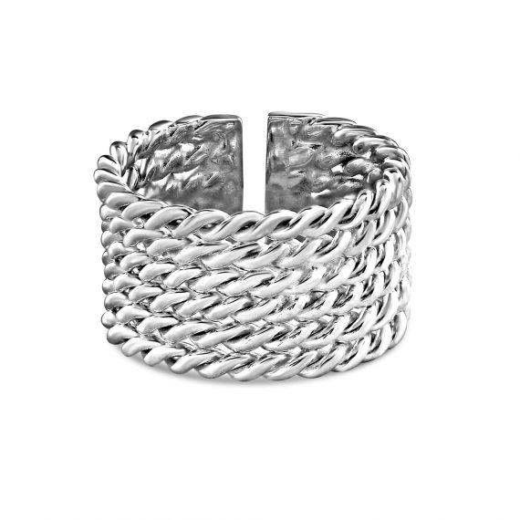Silver 6 row twisted ring