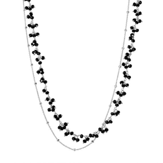 Lucia black agate sterling silver necklace