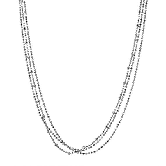Sterling silver multi layer ball necklace