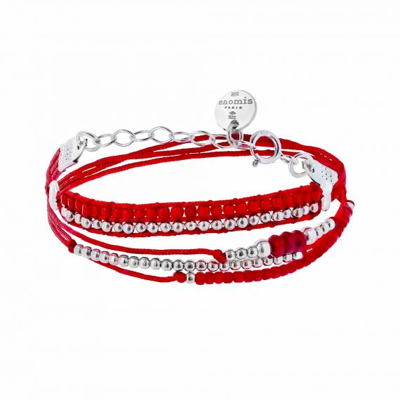 Bracelet Argent 925 multi tour cordon rouge
