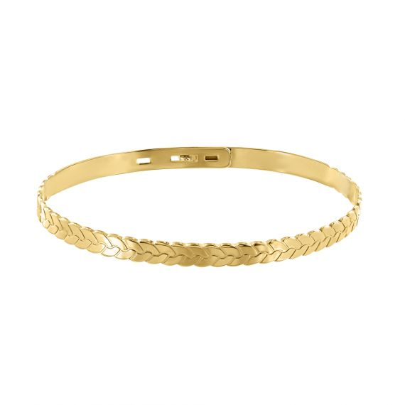 Yellow gold plated bangle wheat head