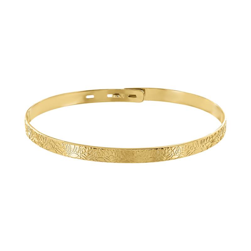 Yellow gold plated nenuphar bangle