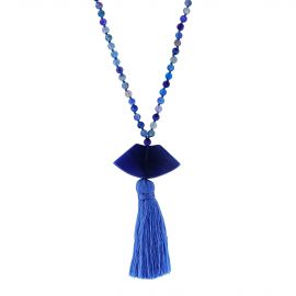 Blue agate long necklace