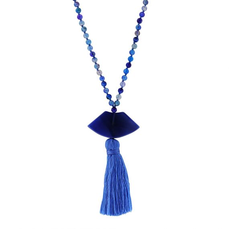 Sautoir pompom agate bleue