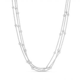 Collier Argent 925 3 rangs billes