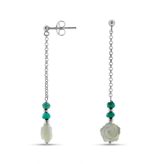 Green agate and sterling silver earrings