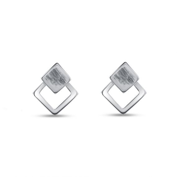 Sterling silver double square earrings