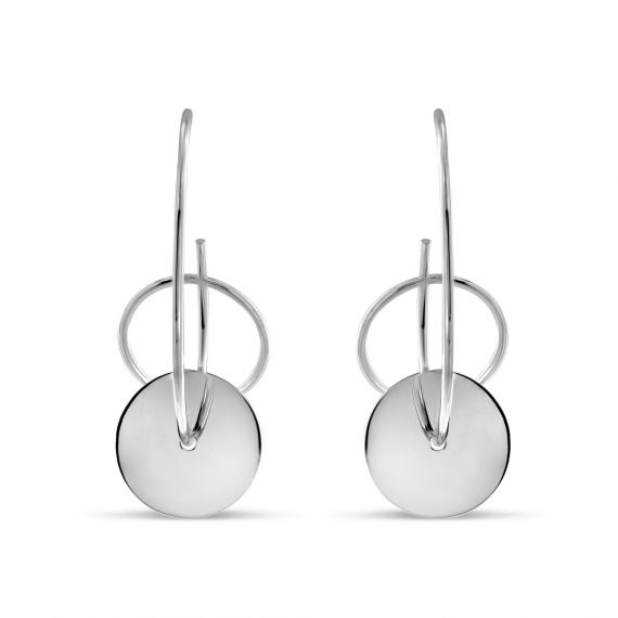 Sterling silver creole discs earrings