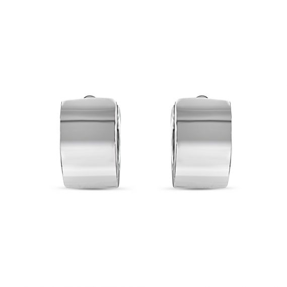Sterling silver flat creole earrings