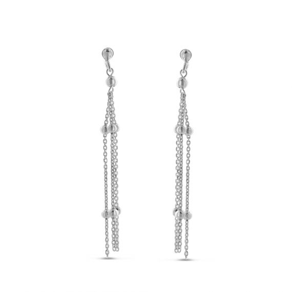 Sterling silver 3 chains balls earrings
