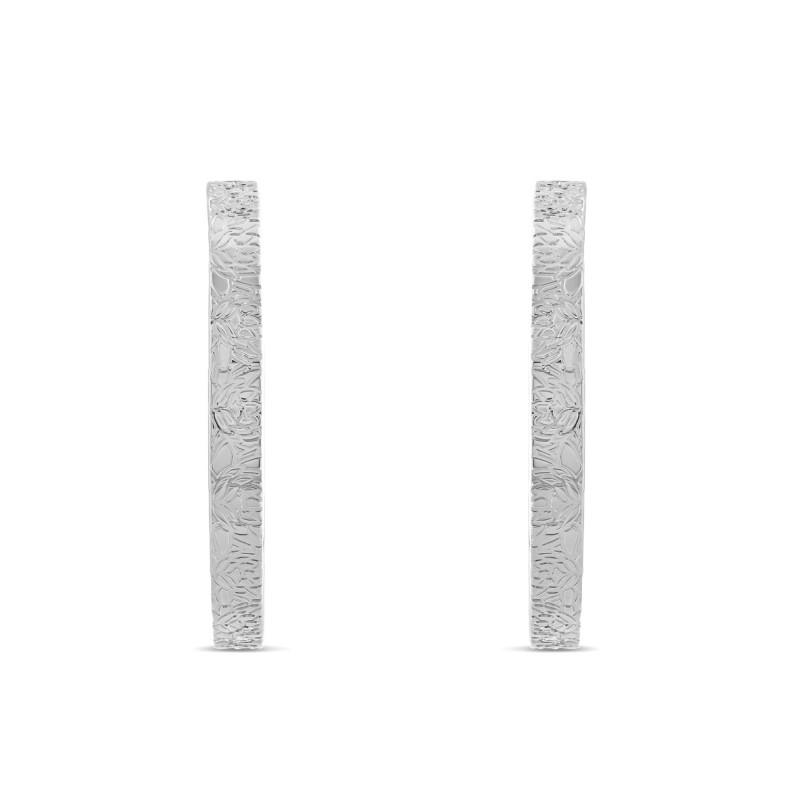 Boucles d'oreille Argent 925 créoles nénuphar