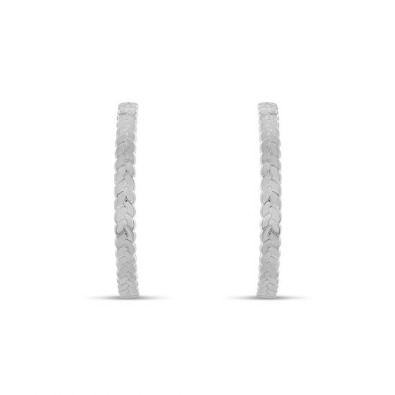 Boucles d'oreille Argent 925 créoles tresses 43 millimètres