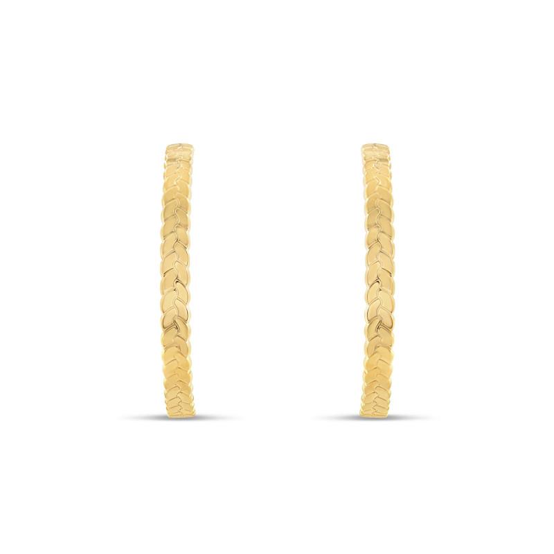 Boucles d'oreille plaqué or jaune créoles tressées 43 millimètres