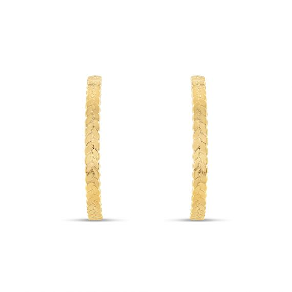 Yellow gold plated creoles braided earrings