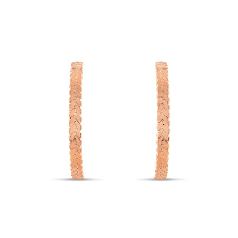 Boucles d'oreille plaqué or rose créoles tressées 43 millimètres