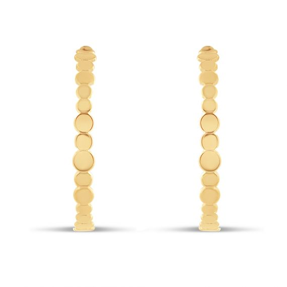 Yellow gold plated creoles rounds earrings