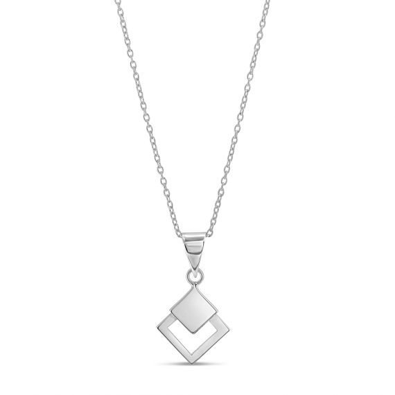 Sterling silver double squares necklace