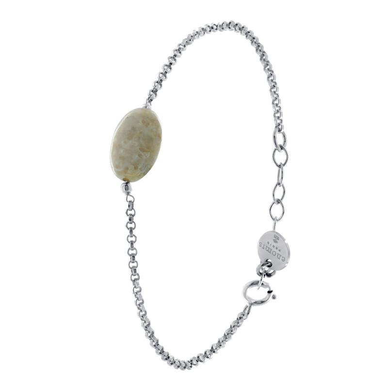 Bracelet Argent 925 jaseron pierre de rivière
