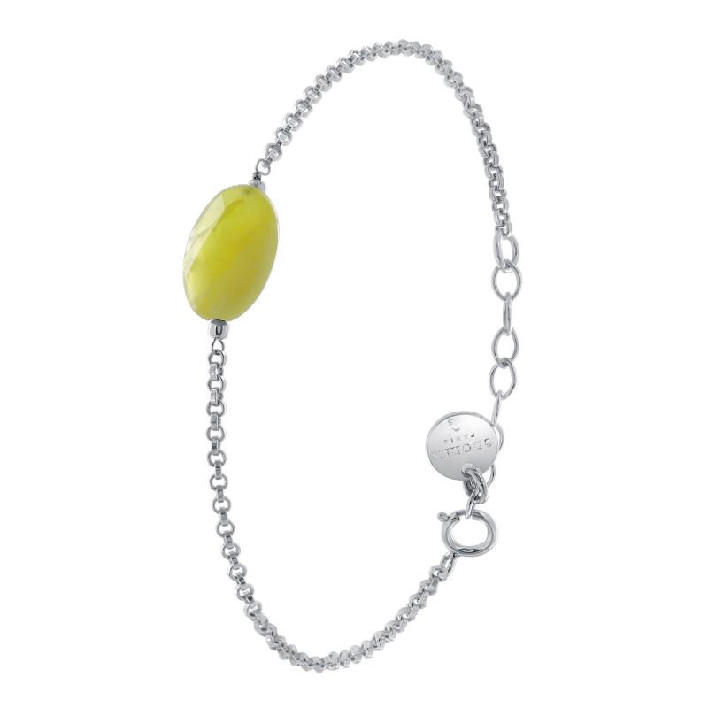 Bracelet Argent 925 jaseron opale jaune ovale