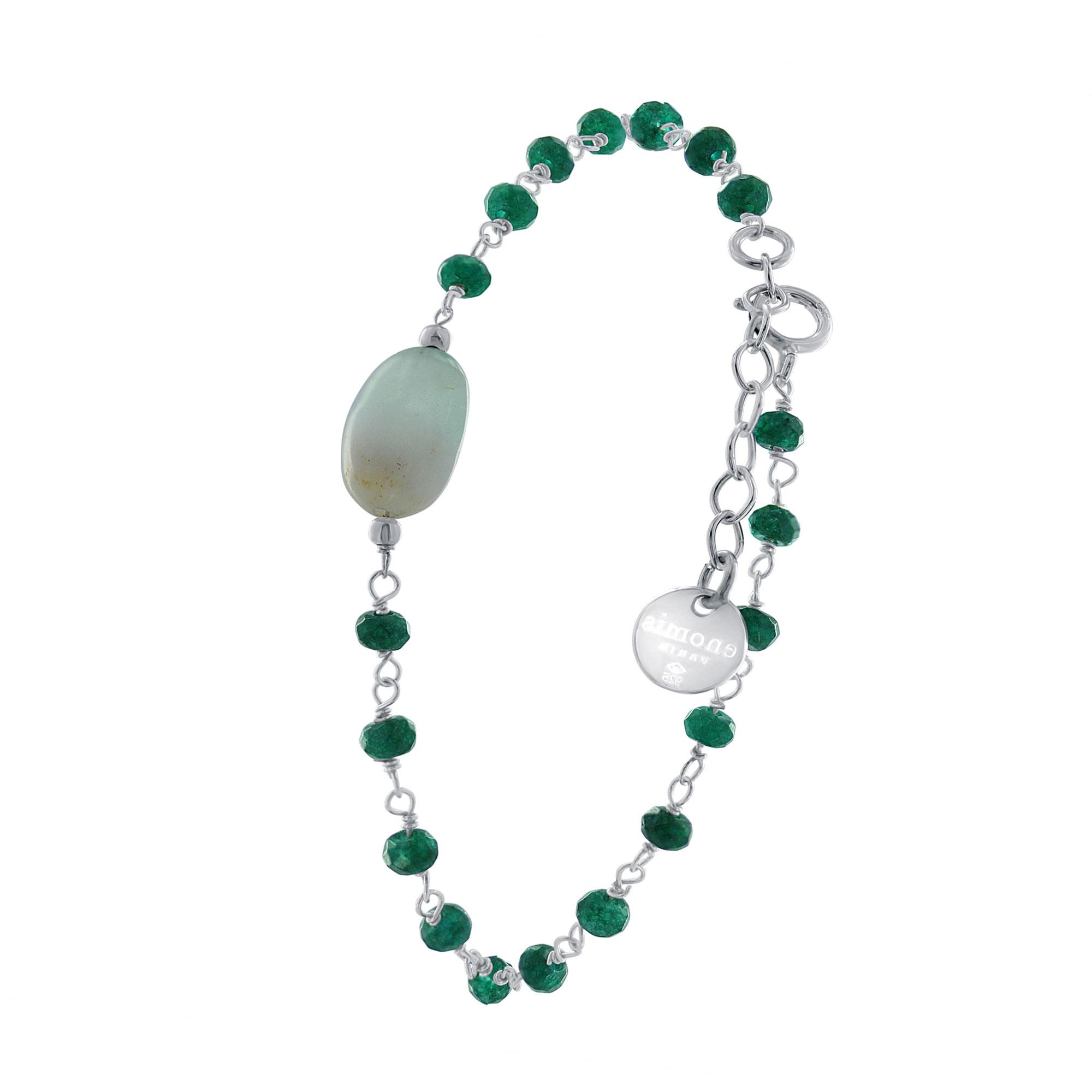 AGATE VERTE and ARGENT Green agate and Sterling silver bracelet. 925 Bracelet