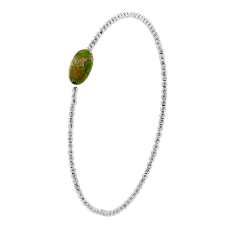 Sterling silver elastic green Jasper stone bracelet