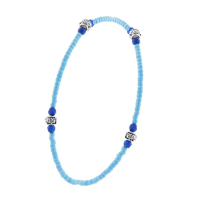 Sterling silver elastic blue miyuki stone bracelet
