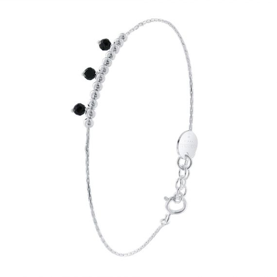 Sterling silver 3 black spinelles bracelet