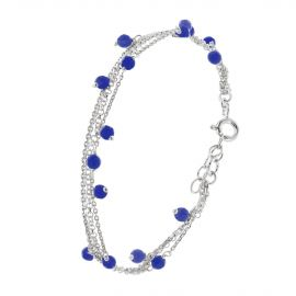 Sterling silver multi layer blue bracelet