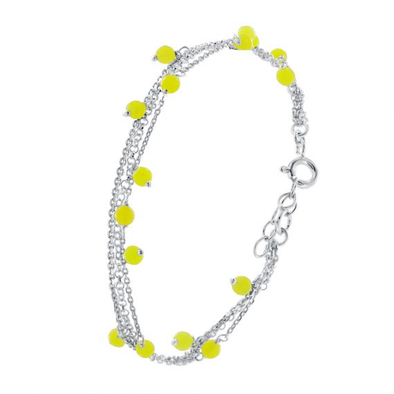 Sterling silver multi layer yellow bracelet