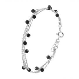 Sterling silver multi layer black bracelet
