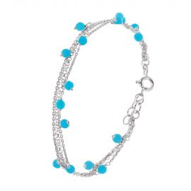 Sterling silver multi layer turquoise bracelet