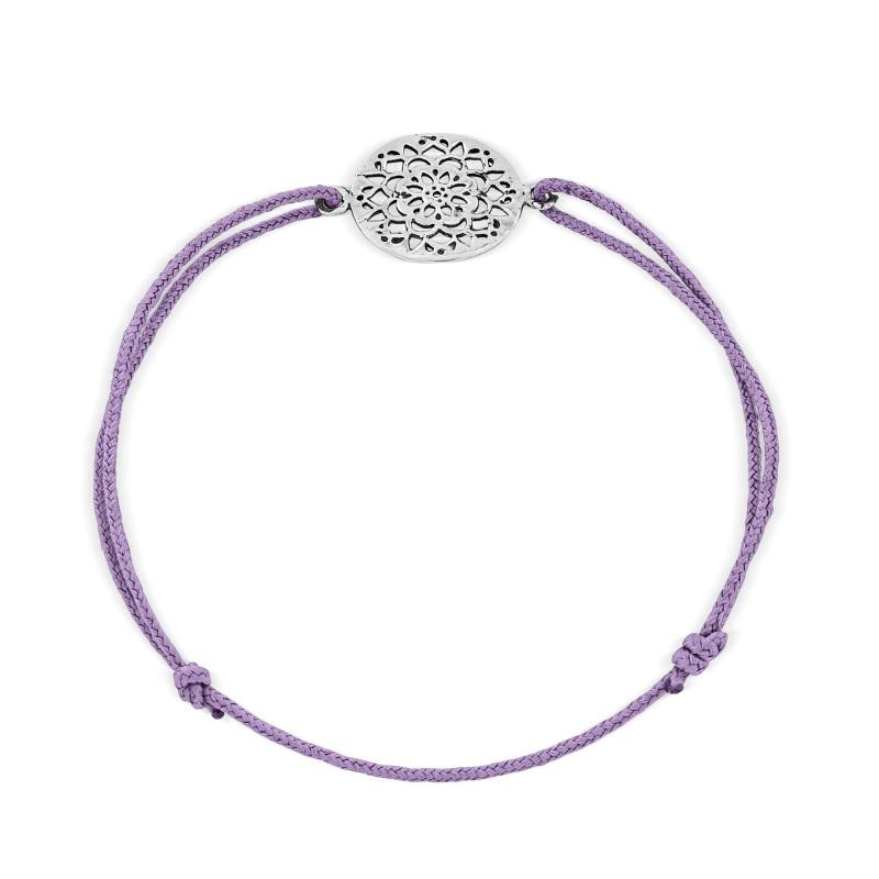 Bracelet cordon motif Argent 925 dentelle