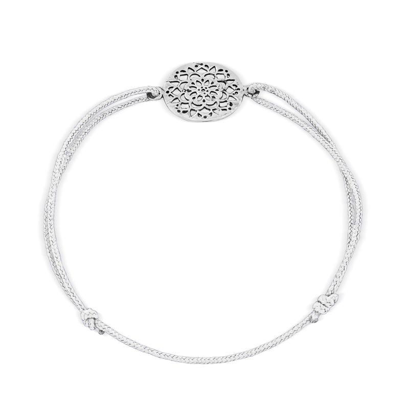 Sterling silver lace pattern thread bracelet